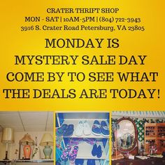 You never know what our Monday sale will be! #buylocal #shoplocal #thriftstore #thriftshop #hopewellva #petersburgva #colonialheights #chesterfield #rva #804 #summer #shopping
