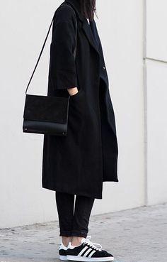 Black trench, skinny jeans & Adidas Gazelles | @styleminimalism