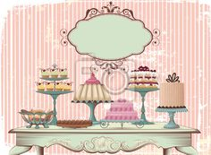 Illustration of Old-fashioned table is set with different cakes All objects are grouped and separated to layers vector art, clipart and stock vectors.
