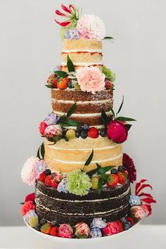 Naked Cake Layer Sponge Flowers Fruit English Country Garden Wedding Colourful Indian Party www. Indian Wedding Cakes, Country Wedding Cakes, Country Garden Weddings, Black Wedding Cakes, Indian Party, Wedding Cake Rustic, Unique Wedding Cakes, Beautiful Wedding Cakes, Wedding Cake Designs