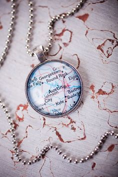 Home Town Map Pendant Necklace from Paper & Place//