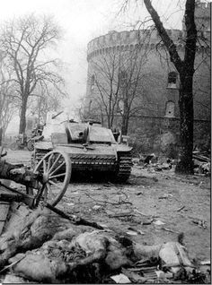 A destroyed German Stug 3 lies near the Kronprinz Barracks. April 1945. The barracks were one of the strongest German fortifications in Koenigsberg.