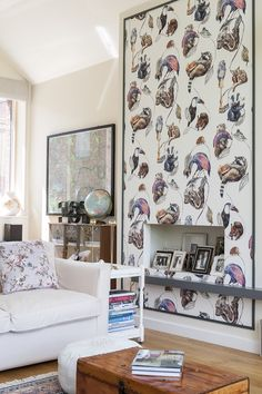 Our favourite part of the living room is the House of Hackney wallpaper, featuring many a fun loving critter, including badgers, otters, frogs and sloths! #WTinteriors #interiors