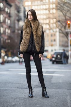 This furry vest is as cozy as it is cool.