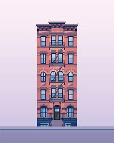 Illustration Prints East Village Buildings - Nathan Manire