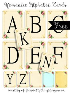 Romantic Alphabet Cards - Free Pretty Things For You
