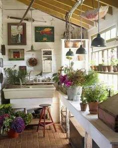 Potting Bench Ideas - Want to know how to build a potting bench? Our potting bench plan will give you a functional, beautiful garden potting bench in no time! garden rooms small spaces sunrooms 50 Best Potting Bench Ideas To Beautify Your Garden Greenhouse Shed, Greenhouse Gardening, Cheap Greenhouse, Indoor Greenhouse, Outdoor Rooms, Outdoor Gardens, Outdoor Living, Indoor Garden, Indoor Plants