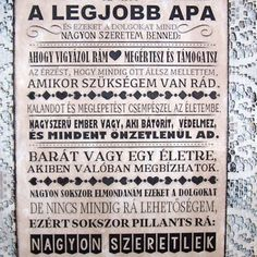 """Te vagy a legjobb apa.. "" idézetes falikép, táblakép, Dekoráció, Otthon, lakberendezés, Falikép, Kép, Festészet, Famegmunkálás, Meska Mother And Father, Money Clip, Fathers Day, Sheet Music, Dads, Presents, Quotes, Gifts, Parents"