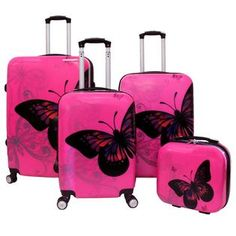 World Traveler Hardside Upright Spinner Luggage Set - Pink Butterfly Girls Luggage, Cute Luggage, Vintage Luggage, Carry On Luggage, 3 Piece Luggage Set, Luggage Sets, Cute Suitcases, Hello Kitty Jewelry, Pink Butterfly