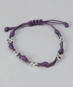 Purple & Sterling Silver Cord Bracelet (use different cord)
