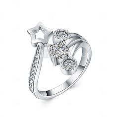 Fine Sterling Silver Five-star Diamond Statement Ring for Women Wedding Party - USD $18.99