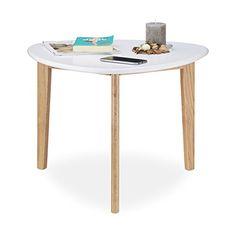Relaxdays Couchtisch Nierentisch Tischbeine Aus Eichen Holz Weisse Tischplatte Modernes Retro