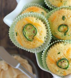 Easy and delicious corn muffins prepared with shredded cheddar cheese and jalapenos served with a simple chipotle honey butter. Potluck Recipes, Great Recipes, Cooking Recipes, Favorite Recipes, Corn Muffins, Cornbread Muffins, Flavored Butter, Honey Butter, Best Appetizers