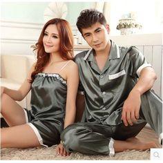 cbe7310b2a Pajamas Women Summer Silk Satin Sleepwear Love Men Sleep Ladies Pyjamas  Women s Pajamas Sling Couple Pajamas