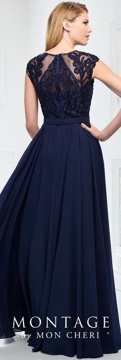 Modern Mother of the Bride dresses from the Montage collection by Mon Cheri feature modern sophistication in jacket sets or classic sleeveless options. Mob Dresses, Blue Dresses, Formal Evening Dresses, Evening Gowns, Montage By Mon Cheri, Mon Cheri Bridal, Mother Of The Bride Gown, A Line Gown, Lace Back