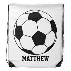 Personalized Sports Soccer Futbol Ball Player Cinch Bags  This bag features a soccer futbol ball in black and white is ready to be personalized! Great gift for a recreational or professional soccer player, fan, personal trainer or coach.