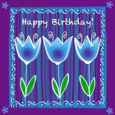 Happy Birthday blauwe tulpen, verkrijgbaar bij #kaartje2go voor €1,89