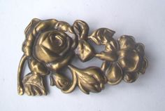 Vintage Brass ROSE, FLOWER  Pin Brooch -Antique Finish