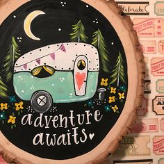 Your place to buy and sell all things handmade - suluboya - Adventure Awaits Camper Mint, woodslice sign, vintage camper sign - Wood Slice Crafts, Wooden Crafts, Driftwood Crafts, Stone Painting, Painting On Wood, Yoga Painting, Rock Crafts, Diy Crafts, Painted Rocks