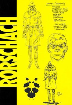 Watchmen Concept Art For Rorschach Dave Gibbons Watchmen Comic Book, Watchmen Rorschach, Character Sheet, Character Art, Character Design, Comic Books Art, Comic Art, Frank Miller Art, Dc Comics