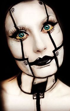 Simple Halloween Idea, I could do this make up and be a fem-bot with a pretty dress (like in Austin Powers)