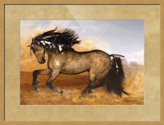 """Cherokee""+by+Valerie+Anne+Kelly,+Norwich+//+The+stallion+is+battle+weary,+heart+and+hooves+still+pounding.+Galloping+over+the+prairie,+this+warrior+horse+astounding.+The+Cherokee+refer+to+themselves+as+Tsalagi+()+or+Aniyvwiyai+(),+which+means+'Principal+People.+The+white+hand+stands+for+peace+-+the+battle+is+over!+Ins...+//+Imagekind.com+--+Buy+stunning+fine+art+prints,+framed+prints+and+canvas+prints+directly+from+independent+working+artists+and+photographers."