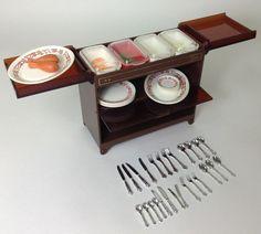 Vintage Pedigree Sindy Dolls House Furniture - Hostess Trolley & Food