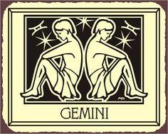 Gemini Zodiac Astrology Vintage Metal Art Retro Tin Sign