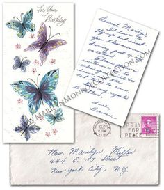 "A colorful birthday card adorned with multiple butterflies and signed on the inside in blue fountain pen ink ""Love, Berniece & Paris"" that was sent to Marilyn for her thirty-third birthday. Included is the original transmittal envelope addressed to ""Mrs. Marilyn Miller, 444 E. 57th Street, New York City, N.Y."" and postmarked ""Gainesville, FLA, Apr 24, 1959."