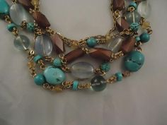 NEW NWT Stephen Dweck Turquoise Florite Multistrand Bronze Horn Necklace