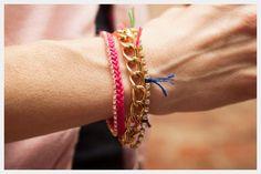 DIY Chain and Rhinestone Bracelet