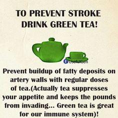 Stroke drink green tea