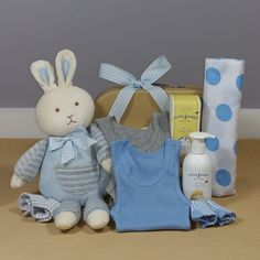 Baby Boy Bunny Hugs hamper. This gorgeous bunny hamper will make the perfect corporate baby gift.
