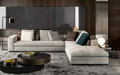 corner upholstered sofa with chaise longue Leonard | corner sofa, design Rodolfo Dordoni to manufacturer Minotti