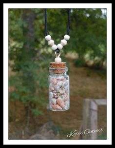 Seashells & Wood Bead Bottle Necklace - pinned by pin4etsy.com