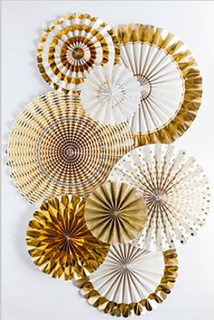 Gold Party Ivory and Gold Pinwheels Party by thepartiesthatpop