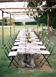 I like long table settings instead of individual small tables. Makes it easier to yell at someone down the table:)