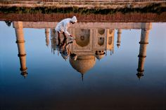 India | Steve McCurry [what better image of the Firmament than her symbol reflected in the blue waters of the Heavens]