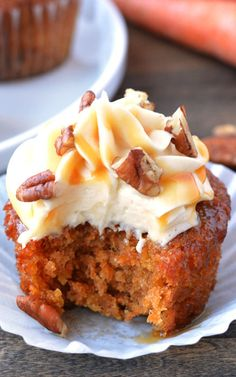 Caramel Pecan Carrot Cupcakes by Garnish and Glaze