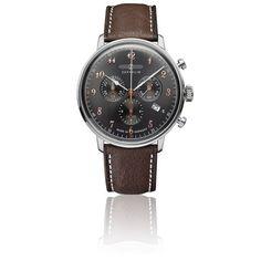 a3df58ad4782 Montre chronographe de Zeppelin en acier inoxydable à quartz suisse et  design vintage. Avec guichet date