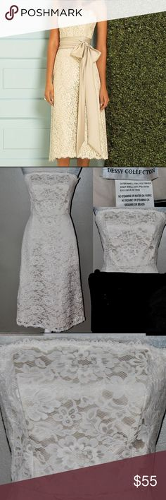 DESSY COLLECTION Informal Wedding Dress Informal beach destination wedding dress (please note that the sash can be purchased at any bridal store or online) GORGEOUS  Ivory Lace super soft with a nude tone underlining Strapless with lace trim along bustline dessy collection Dresses Wedding