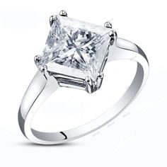 Princess Cut Diamond 2.00CT Tapered Shank & Double Prong Setting Engagement Ring #affoin8 #WomensSolitaireEngagementRing