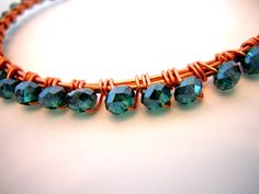 Wire Wrapped Copper And Teal  Crystal Bangle by DebbieRenee,
