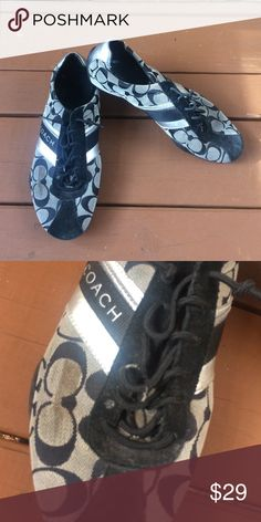 Coach Jayme Black and silver sneakers Size 10. These do have a mark on them. Please see pictures. Coach Shoes
