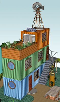 Shipping Container -- I could totally see living on the bottom, kids on middle floor and adults on the top with balcony...