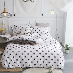 Black White Stars Cute Bedding set Egyptian Cotton Soft Bedclothes Queen King Double size 4Pcs Bed Sheet Duvet cover Pillowcases #Affiliate
