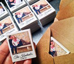 200 Wedding Favors - Custom Mini Polaroid Magnets with Captions via Etsy