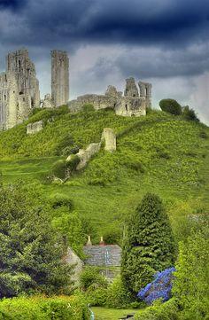 Ruins of Corfe Castle, near Dorset, England