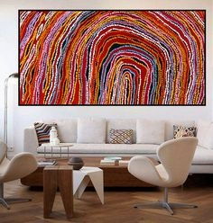 Huge130cm by 70cm Aboriginal style painting by Anna Narnina