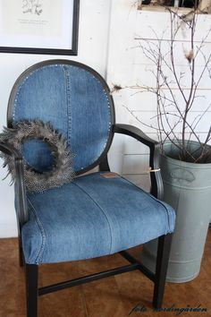 Reupholstered with old blue jeans. The pocket is on the back! Home decor, interior design, mecdesignstudio